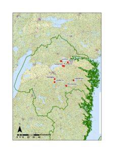 Karta över områden i Östergötlands län