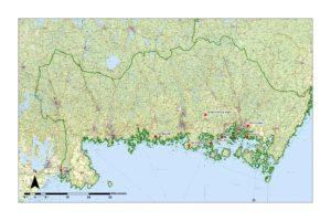 Karta över områden i Blekinge län
