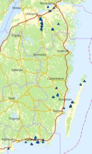 Översiktlig karta över projektområdena